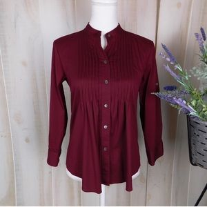 Theory Burgundy Teroni Pleated Long Sleeve Blouse